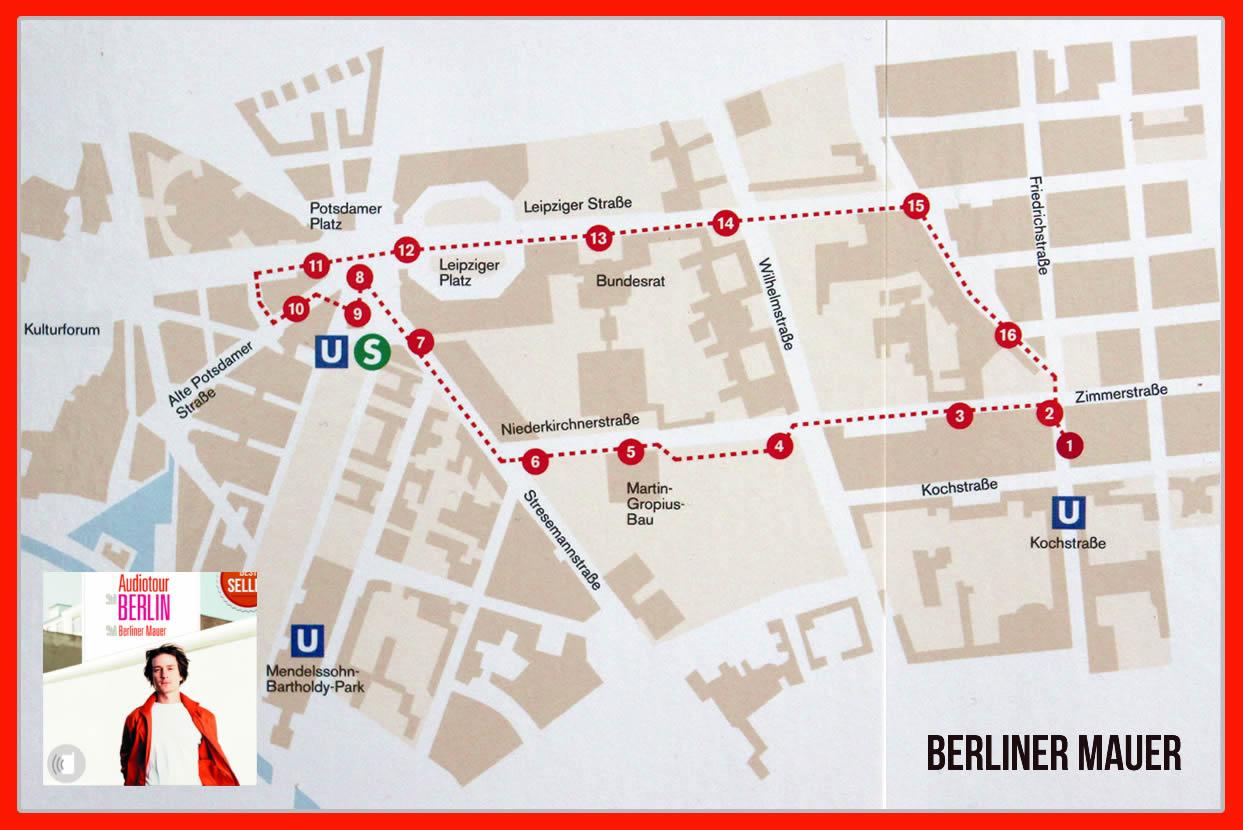 "Routenverlauf Audioguide ""Berliner Mauer"""